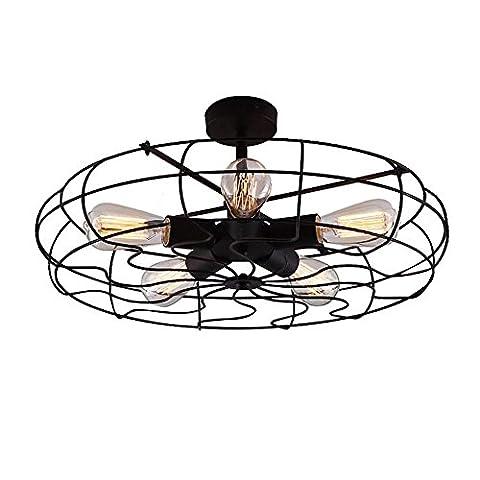 Modeen Retro Industrial Wind Power Fan LED Chandelier Celling Fan Light Chandelier LOFT Industry Pendant Lamp Wrought Lamp Shades 5 Heads E27 Fixture Width: 22.5 Inch (57 Cm)