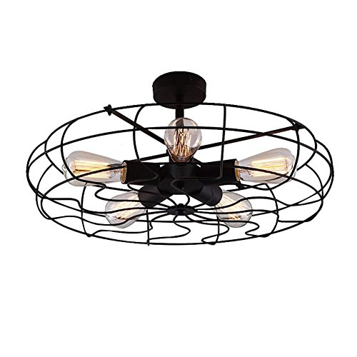 Orientalische Porzellan Lampe (Miffen Retro industrielle Windkraft Ventilator LED Kronleuchter Celling Fan Licht Kronleuchter LOFT Industrie Pendelleuchte Wrought Lamp Shades 5 Köpfe E27 Befestigung Breite: 22,5 Zoll (57 cm))