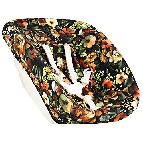Bezug Stokke Tripp Trapp Newborn Set Schwarz Blumen Öko-Tex 100 Baumwolle Recycelbar Schweißabsorbierend und Weich für Ihr Baby