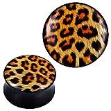 Plug acrílico leopardo amarillo marrón negro Expander Piercing de oído joyas