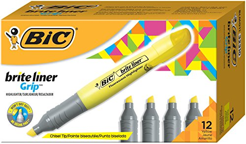 BIC Brite Liner Grip Highlighter, Tank, Chisel Tip, color amarillo 12-Count