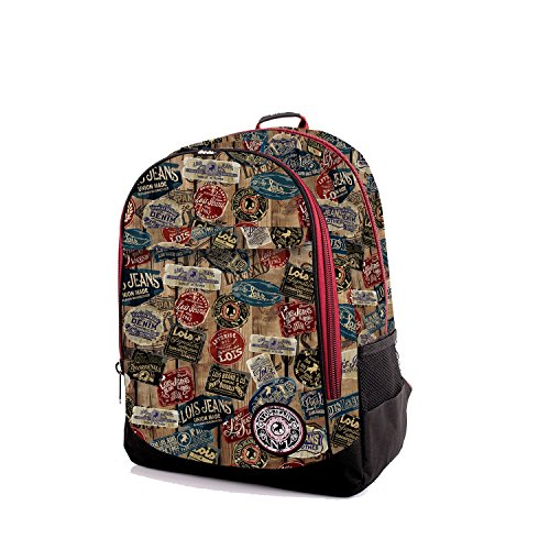 LOIS - 65802 MOCHILA ESTAMPADA, Color Negro