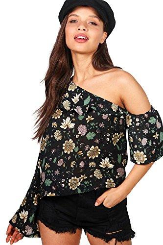 Damen Multi Faye Oberteil Mit Einer Freien Schulter, Blumen-print Und Ausgestellten Ärmeln Multi