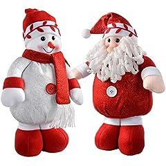 Idea Regalo - WeRChristmas in piedi Babbo Natale e pupazzo di neve colore: Rosso/Bianco, set di 2, Tessuto, multicolour, large