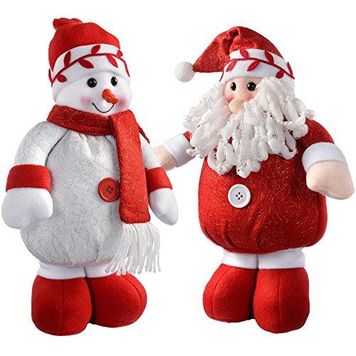 WeRChristmas in piedi Babbo Natale e pupazzo di neve colore: Rosso/Bianco, set di 2, Tessuto, multicolour, large
