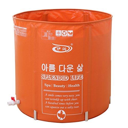Perlenbad (MLN& Folding Badewanne Orange Ledermuster Aufblasbare Badewanne Zusammenklappbar Erwachsenen Badewanne Höhenverstellbare Wanne)