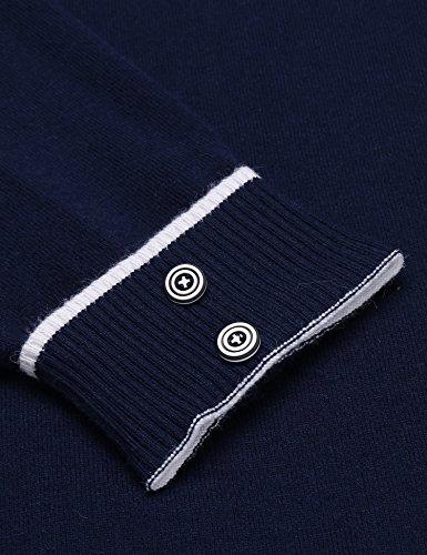 Herren Casual Strickpullover Pullover Langarm Feinstrick Pulli V-Ausschnitt-Pullover Stehkragen Slim-fit V-Neck Strickpulli Herbst Winter Sports Sweater A-Blau