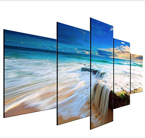 AnnBlue Gerahmte 5 Stück Hd Druck Malerei Wasserfall Strand Cuadros Landschaft Leinwand Wandkunstausgangsdekor Für Wohnzimmer Wandbild,Size,Canvas