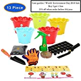 "#10: GATE GARDEN BEST 5 FLOWER SEEDS FOR HOME GARDEN WITH ONE PAIR HAND GLOVES FOR YOUR GARDEN, 2 GARDENING TOOLS ONE GARDEN TROWEL, ONE KHURPI FOR SMALL POTS AND POT/PLANTER 3.5"" (SET OF 5pc's OF 5 COLOURFUL POTS), WITH ORGANIC MANURE & KRAFT AGRO PEAT FOR FAST GERMINATION, ONE SEEDLING TRAY (18 HOLES) WITH ALSO SPRAYER PUMP (100ML.) THIS SPRAYER PUMP IS A USED TO SPRAY A LIQUID OR WATER.) BY GATE GARDEN"