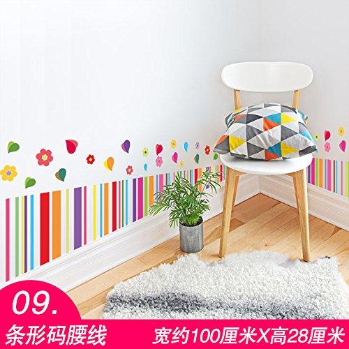 Wandaufkleber Wandtattoo Wohnzimmersockelleisten, Aufkleber, Wände, Taillen, Wände, 09 Barcode Taille, Groß