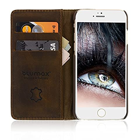 """iPhone 6/6s Leder-Case Handytasche Apple iPhone Schutzhülle Echtleder Farbe Vintage-Braun mit Kartenfächern ohne Magnet 4,7"""" Zoll"""
