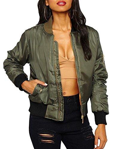 ZEARO Damen Sport Baseball Jacke Jacket Sweatjacke Sweatshirt Bomberjacke ZIP Up Bikerjacke Kurz Jacke Mantel Coat Armee-Grün