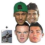 Les joueurs de football célèbres Masque en carton de 2D paquet de 6 (Hodgson, Rooney, Gerrard, Neymar, Aguero & Ronaldo) Brazil 2014 - Comprend une photo étoile (15x10cm)