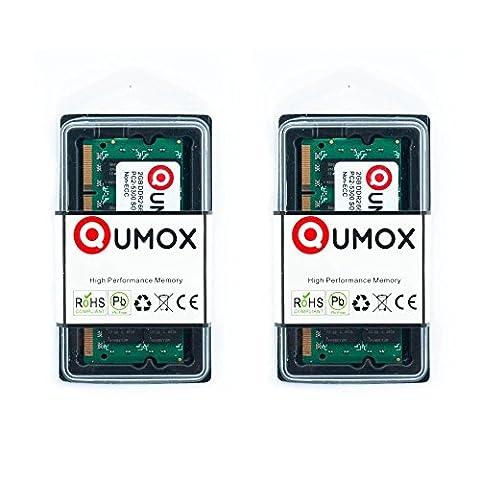 QUMOX 4Go(2x2Go) DDR2 667MHz PC2-5300 PC2-5400 DDR2 667 (200 PIN) SODIMM Mémoire d'ordinateur portable