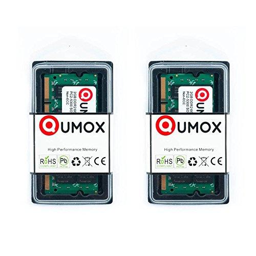 QUMOX Memoria para Ordenador 2x 2GB 4GB DDR2667MHz PC2-5300PC2-5400(200Pin) SODIMM