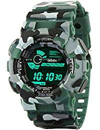 Addic Multicolor Dial Army Green Strap Digital sports Watch For Men's