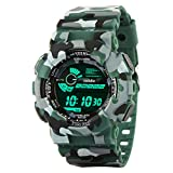 #5: Addic Multicolor Dial Army Green Strap Digital sports Watch For Men's