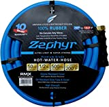 "Zephyr Next-gen Garden Hose (1/2"" x 50ft, Ultra-Light Flexible Rubber, Brass Fittings)"