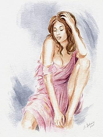 Artland Echt-Glas-Wandbild Deco Glass Marita Zacharias Verführerische Schönheit Liebe & Frau Malerei Pink/Rosa 60 x 45 x 1,1 cm