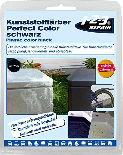 123repair Perfect-Color Kunststoff Aufbereitung I Kunststofffarbe schwarz mit Schwamm für Polyrattan Gartenmöbel Camping PVC Kunststoffpflege Kunststofffärber