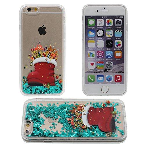iPhone 6S Coque, Père Noël Arbre de Noël Style Motif Flowable Liquide Eau Vert Étoiles Clair Transparent PC Plastique Dur Housse de protection Case pour Apple iPhone 6 6S 4.7 inch color-3