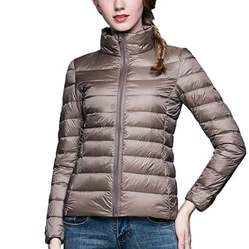 GWELL Damen Ultra Leicht Daunenjacke mit Kapuze Slim Fit 90% Daunen Winter Super Warm Steppjacke Übergangsjacke Bodywarmer Khaki M