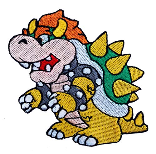 Kostüm Mario Irland Super - Premier Patches Bowser Patch Embroidered Iron on Badge Aufnäher Kostüm Cosplay Mario Kart/SNES/Mario World/Super Mario Brothers/Mario Allstars