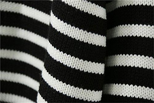 DaBag Cadere Invernali Versione Coreana Donna Pullover Maglione Larghi a Righe Fasciante Dolcevita Maglie a Maglia Studente Manica Lunga Maglieria Nero