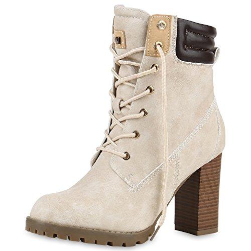 SCARPE VITA Damen Schnürstiefeletten Worker Boots Stiefeletten Block Absatz 160666 Nude Leicht Gefüttert 40