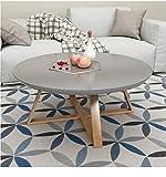 GZ Teetisch, Rundes Schlafzimmer, Kleiner Couchtisch, Einfaches Wohnzimmer, Kreativer Massivholz-Beistelltisch, Kleiner Runder Kleiner Schreibtisch,Grau,80 cm / 31.5In