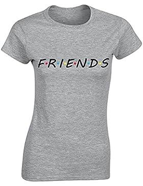 Bonboho Camiseta de Mujer con Manga Corta Casual Impresión de Letra Friends Cuello Redondo de Verano