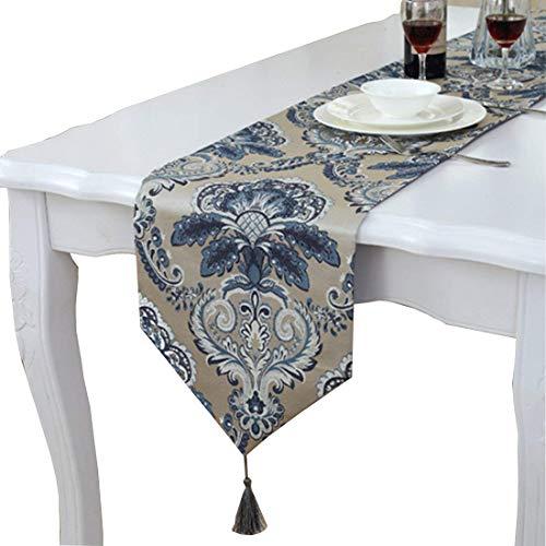 Design Gold Trim (Moderne Einzigartige Satin Gold Trim Design Tisch Läufer, Satin, blau, 12