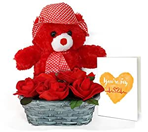 TiedRibbons® Valentine Gifts for Mens Combo(Teddy Bear,Bamboo basket with Bunch of artificial Roses and Valentine's Special Greeting Card)