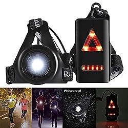 Konesky Laufende Nachtlampe, Wasserdichter Außensport USB-Ladung Joggen Brustlicht 3 Beleuchtungsmodi mit Abnehmbarem Befestigungsband (1 Pack)