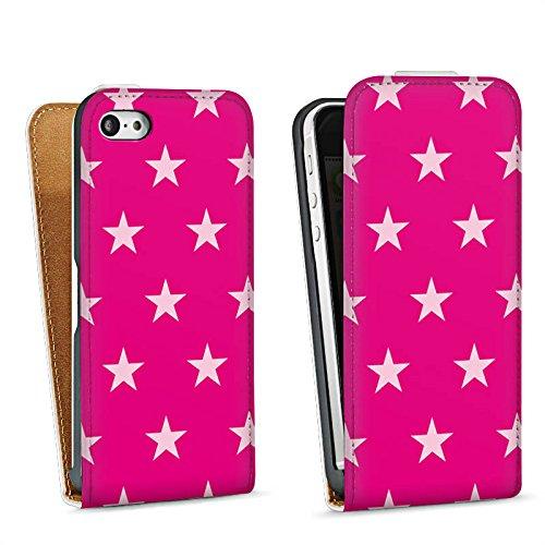 Apple iPhone 5s Housse Étui Protection Coque Étoile Rose vif Motif Sac Downflip blanc