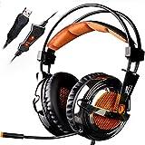 SADES A6 7.1 stéréo Surround Sound USB PC Gaming Casques bandeau casque avec microphone HiFi Over-the-Ear télécommande de volume Over-the-Ear respiration lumières LED (Electroplating Version)