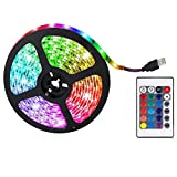 RGB LED Light Strip LED Color Changing Light with 24 Keys Remote Control for Home Lighting Kitchen Bed Flexible Strip Lights for Bar Home Decoration