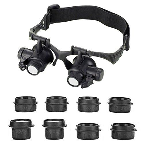 Beetest Occhialini a testa con indosso lente d'ingrandimento a LED Illuminata a luce con lente d'ingrandimento 2.5-25 X 8 Set Lens per riparazione orologio gioiello