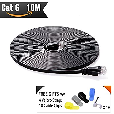 Cat 6 Ethernet Cable 10m Black ( At a Cat5e Price but Higher Bandwidth ) Cat6 Flat Internet Network Cable for High Speed Gigabit Lan for Router/Modem/Patch Panel with Cable Clips and Velcro