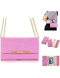 XGUO iPhone 7 Plus Housse détachables Bling Diamant Sparkling Coque iPhone 7 Plus Wallet Pochette avec plusieurs 7 Card Slots Slim Retour PC Shell Cover(iPhone 7 Plus,Rose)