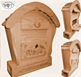 HBK-RD-NATUR Briefkasten, Holzbriefkasten mit Holz - Deko aus Holz No 1 HOLZ NATUR HELL ideal für Holzhäuser Fertighäuser und Eingänge Briefkästen Postkasten Runddach