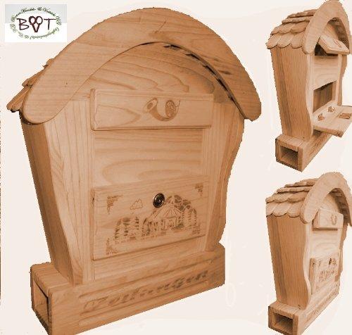 HBK-RD-NATUR Holz-Briefkasten, Briefkasten mit Holz - Deko aus Holz No 1 HOLZ NATUR HELL ideal für Holzhäuser Fertighäuser und Eingänge Briefkästen Postkasten Runddach