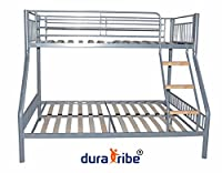 DuraTribe Triple Sleeper Metal Bunk Bed in Silver Colour - EN747-1 Certified - with optional Firm Memory Foam Mattresses