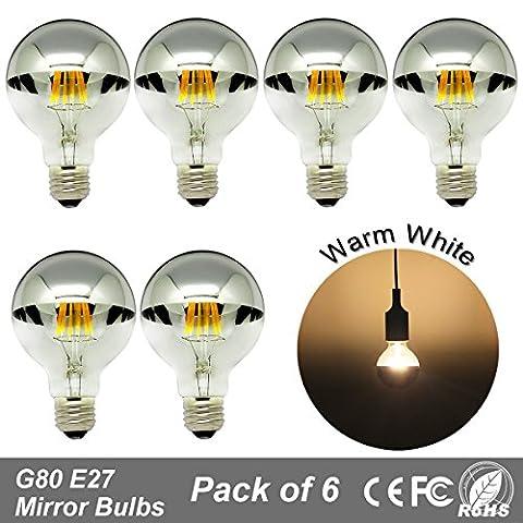 6 x G80 LED Edison Ampoules Miroir Argenté