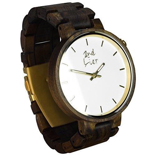 2nd Liar / Classicwatch / einzigartige, edle Holz Armbanduhr / zeitlose Armband Uhren aus Holz / vegane Holzuhr / handgefertigt, unisex / 42mm / dunkles Sandelholz