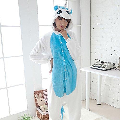 MH-RITA Pijama volle Flanell Schlafanzug Schlafanzug für Frauen Kostüme für Erwachsene nachtwäsche Home für Bekleidung Übergrößen, blau Einhorn, (Home Erwachsene Kostüme)
