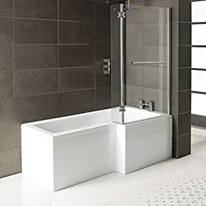 matrix l form f r bad dusche badewanne front panel duschwand mit handtuchhalter hand. Black Bedroom Furniture Sets. Home Design Ideas