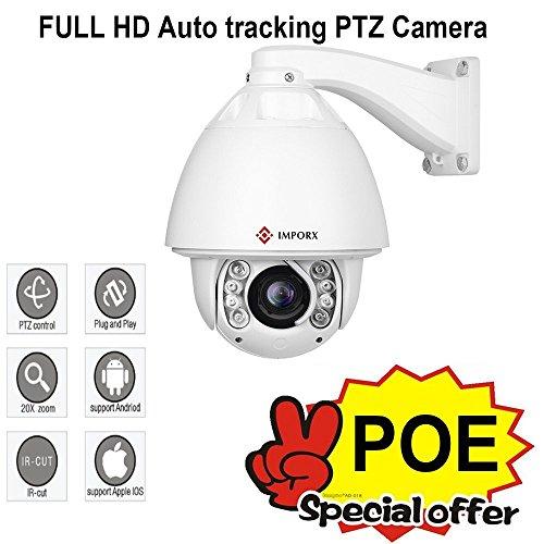 IMPORX POE PTZ Auto Tracking Kamera 20X Optischer Zoom Autofokus H.265/H.264 1080P IP High Speed Kamera,120M IR Abstand,Unterstützung SD Karte & ONVIF,mit POE-Set (Splitter&Switch) Display Poe Pc