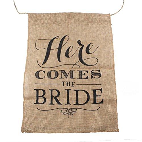 WINOMO Sackleinen, hier kommt die Braut-Schild (Hier Kommt Die Braut-zeichen)