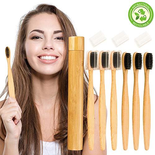 UNEEDE Bambus Zahnbürsten, 6 Pack Holzzahnbürste mit Bambusrohr Original Weiches Bambuskohle Bambuszahnbürste Vegan Bambuszahnbürste Set für Kinder und Familie